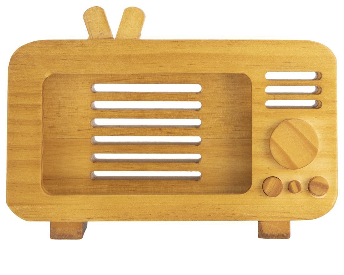 HEMA Telefoonhouder Hout Retro Tv 11.5x16.5x5.5