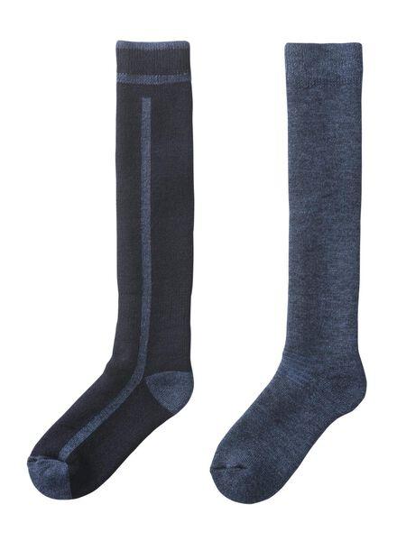 2-pak heren skisokken blauw blauw - 1000010431 - HEMA