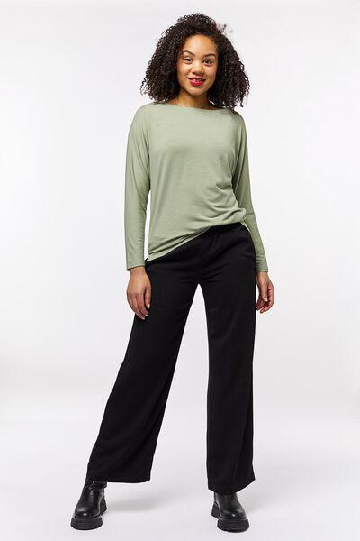 dames t-shirt boothals lichtgroen M - 36228352 - HEMA