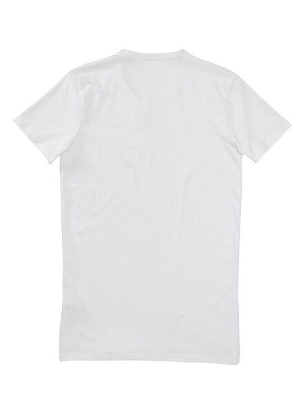 heren t-shirt slim-fit extra lang wit wit - 1000005990 - HEMA