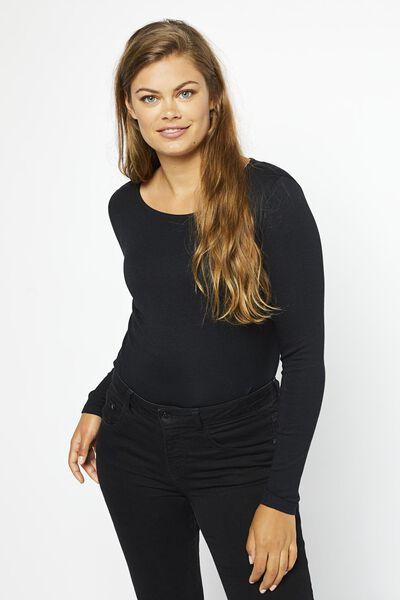 dames t-shirt boothals zwart XL - 36359864 - HEMA