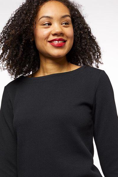 dames-shirt structuur zwart zwart - 1000023713 - HEMA