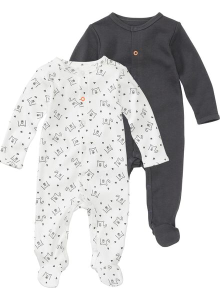 2-pak newborn jumpsuits biologisch katoen gebroken wit gebroken wit - 1000005708 - HEMA