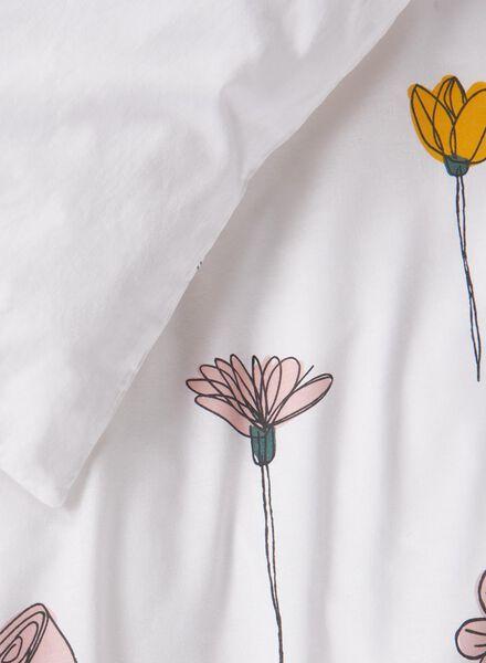dekbedovertrek - zacht katoen - 140 x 200/220 cm - wit bloemen wit 140 x 220 - 5700173 - HEMA