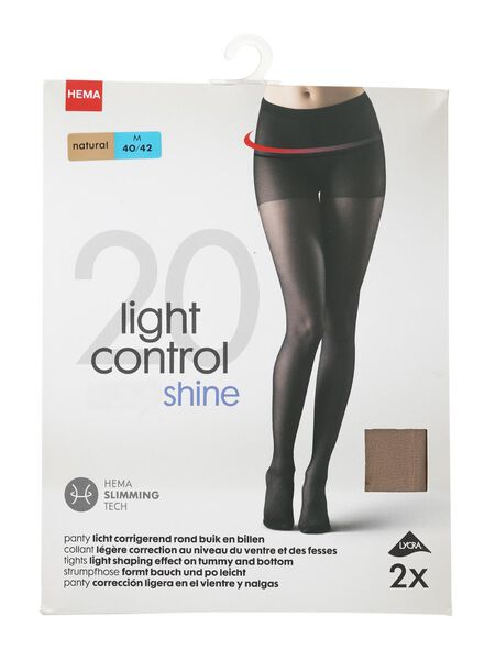 2-pak panty's licht corrigerend 20 denier naturel 44/46 - 4042308 - HEMA