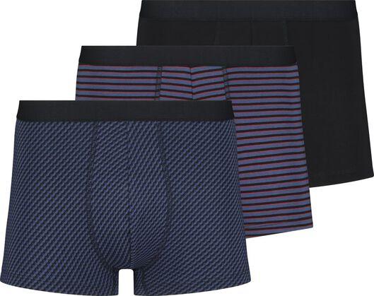 3-pak herenboxers kort katoen stretch donkerblauw - 1000018788 - HEMA