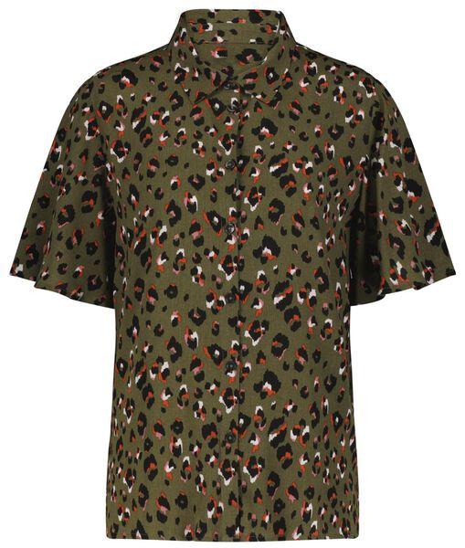damesblouse leopard lichtgroen - 1000024011 - HEMA