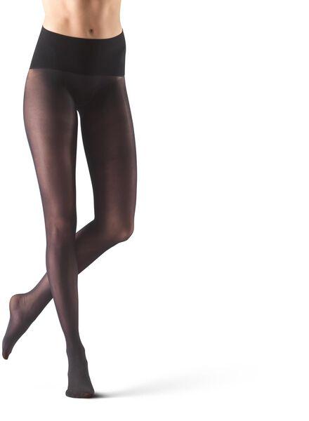 naadloze panty shine 20 denier zwart 44/46 - 4042383 - HEMA