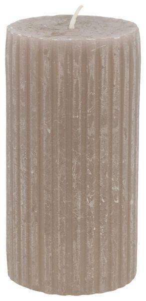 rustieke kaars met reliëf - 7x13 - taupe - 13502604 - HEMA