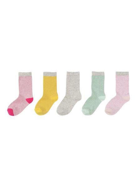 5-pak kindersokken roze roze - 1000001857 - HEMA