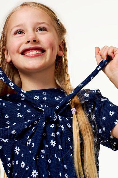 kinderjurk bloem donkerblauw 134/140 - 30867518 - HEMA