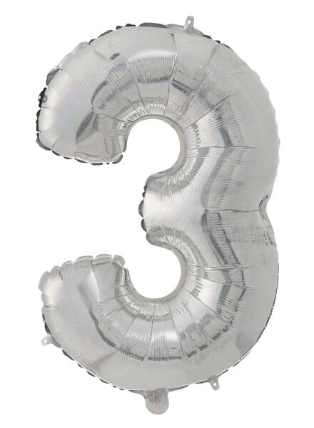cijferballon XL 3 3 zilver - 60800649 - HEMA