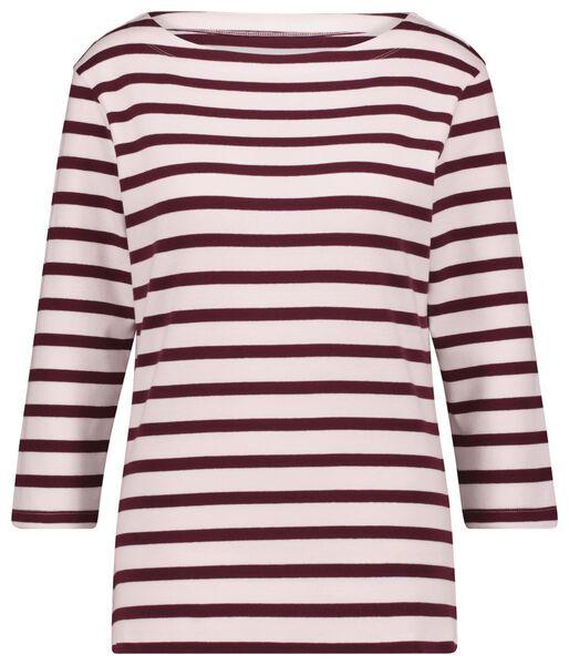 dames t-shirt boothals strepen bordeauxrood L - 36378378 - HEMA