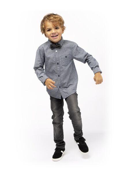 kinderoverhemd met strik blauw blauw - 1000017317 - HEMA