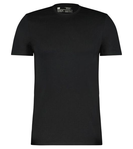 heren t-shirt regular fit o-hals - 2 stuks zwart zwart - 1000009970 - HEMA