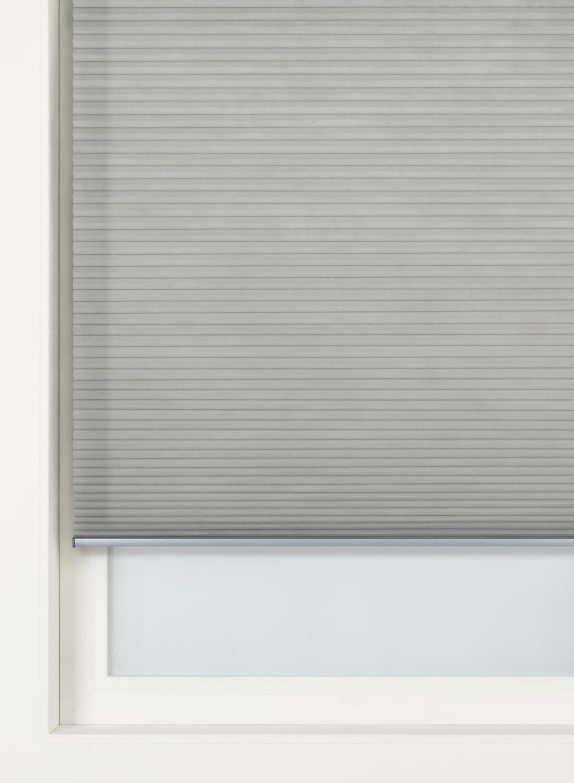 HEMA Plissé Dubbel Lichtdoorlatend - Gekleurde Achterzijde 32 Mm Grijs (grijs)