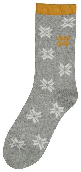 sokken sneeuwvlokken grijsmelange grijsmelange - 1000021727 - HEMA