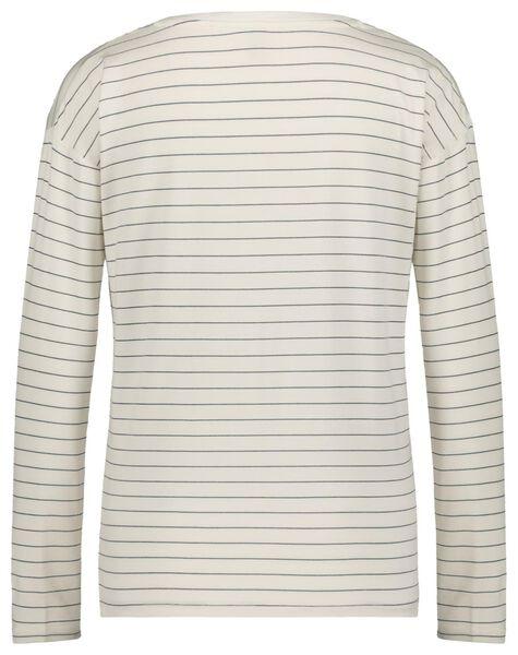 dames t-shirt streep wit wit - 1000021214 - HEMA