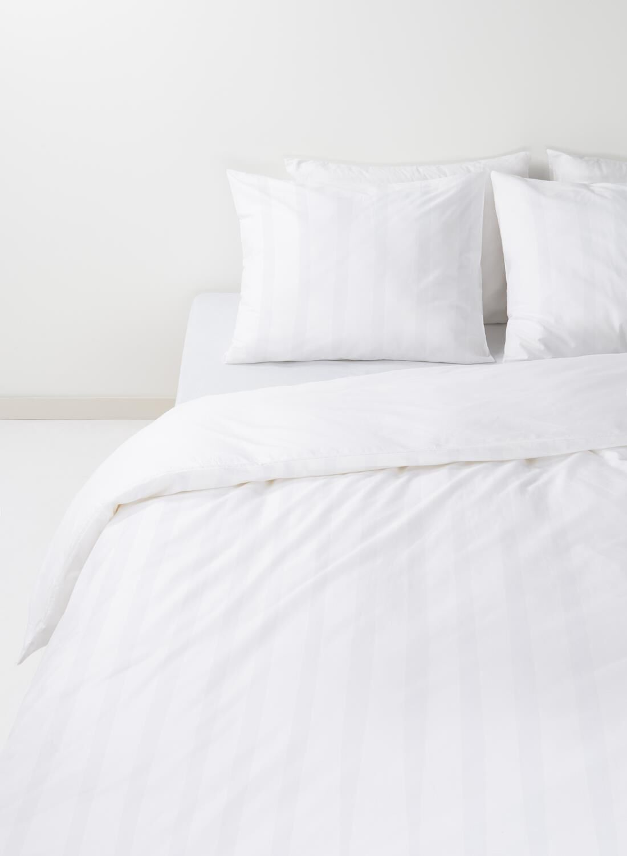 HEMA Dekbedovertrek – Hotel Katoen Satijn – Streep Wit (wit)