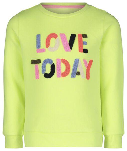 kindersweater 'love today' fluor geel 122/128 - 30840873 - HEMA