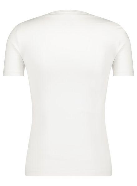 heren t-shirt diepe V-hals - slim fit - biologisch katoen wit wit - 1000016216 - HEMA