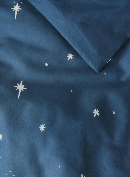 dekbedovertrek - zacht katoen - 140 x 200 cm - blauw sterren Grey 140 x 200 - 5710038 - HEMA