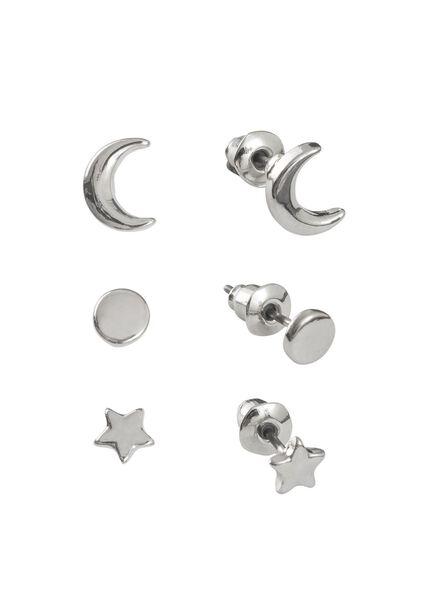 3-pak oorbellen zilver - 60500361 - HEMA