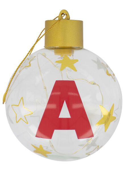 LED kerstballen glas Ø 8 cm A t/m Z goud goud - 1000017561 - HEMA