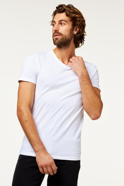 heren t-shirt slim fit wit wit - 1000009991 - HEMA