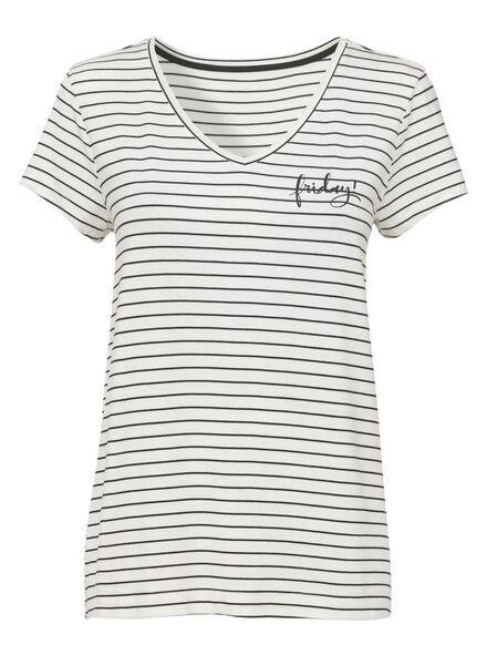dames pyjamatop viscose zwart/wit zwart/wit - 1000013156 - HEMA