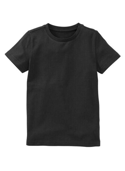 kinder t-shirt - biologisch katoen zwart zwart - 1000003399 - HEMA