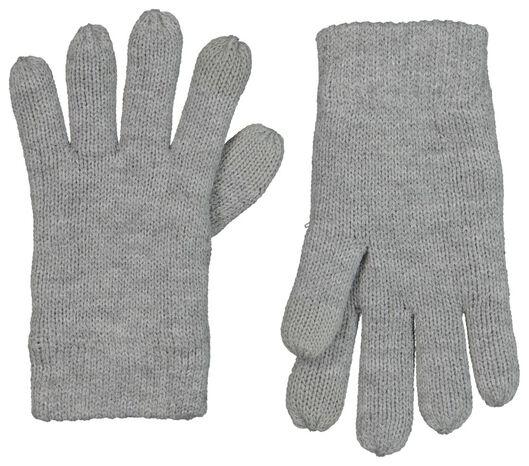 kinderhandschoenen met touchscreen gebreid grijsmelange grijsmelange - 1000020795 - HEMA