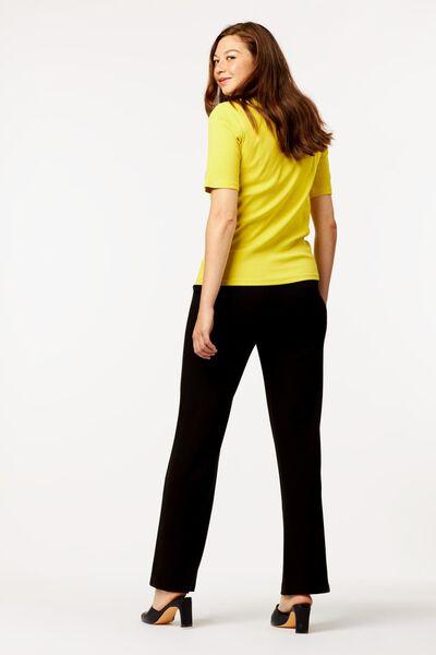dames t-shirt rib geel S - 36204141 - HEMA