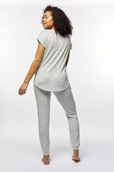 dames pyjamabroek strepen grijsmelange S - 23400801 - HEMA