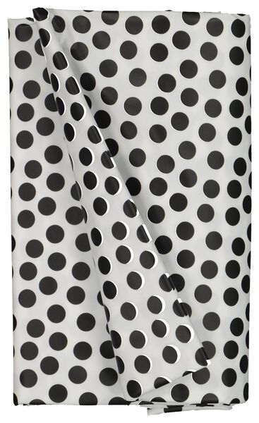 tafelzeil 140x240 polyester - stippen wit/zwart - 5300068 - HEMA