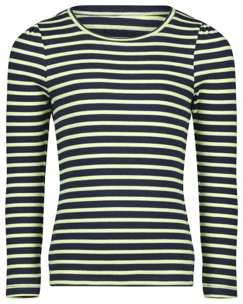 kinder t-shirt rib strepen donkerblauw donkerblauw - 1000022225 - HEMA