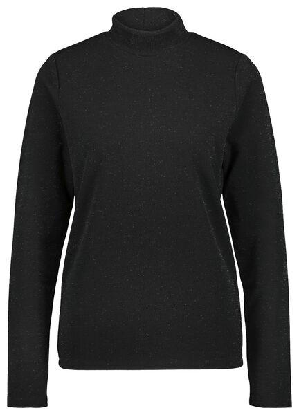 dames top col glitter zwart zwart - 1000021669 - HEMA