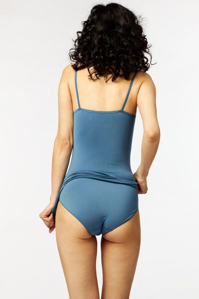 dameshemd naadloos micro middenblauw middenblauw - 1000023087 - HEMA
