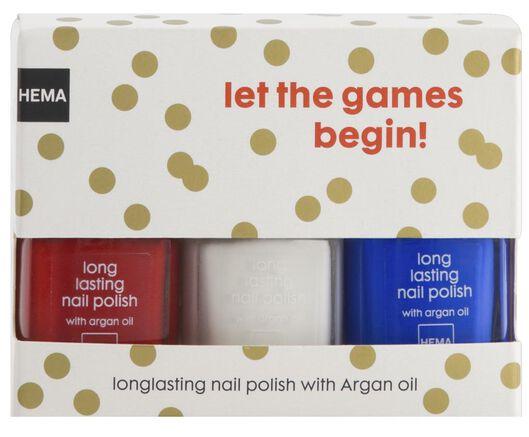 long lasting nagellak rood/wit/blauw - 11240065 - HEMA