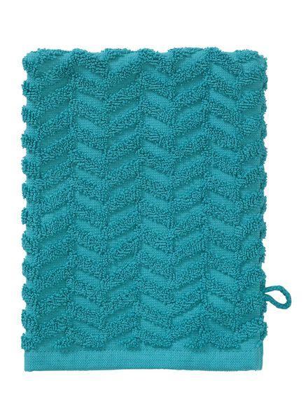 washand - zware kwaliteit - donkergroen zigzag donkergroen washandje - 5200071 - HEMA