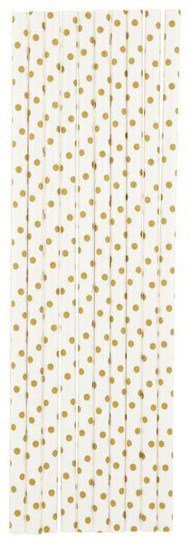 papieren rietjes - 20 cm - gouden stip - 20 stuks - 14280213 - HEMA