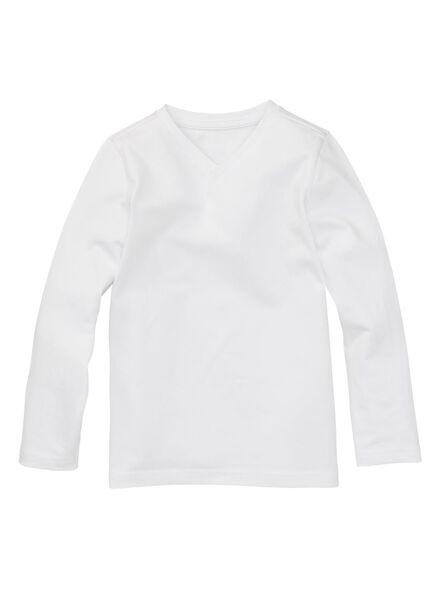 2-pak kinder t-shirt - biologisch katoen wit 134/140 - 30719864 - HEMA
