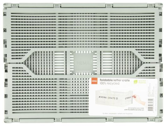 klapkrat letterbord recycled 30x40x17 - leemgroen - 39821036 - HEMA