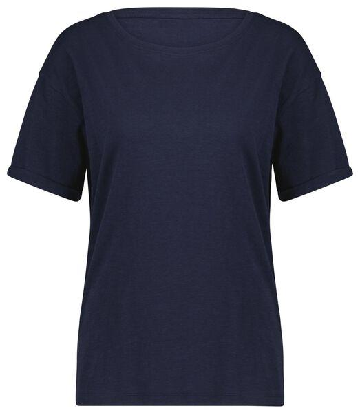 dames t-shirt blauw S - 36390481 - HEMA