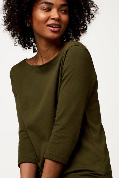 dames t-shirt boothals olijf olijf - 1000023513 - HEMA