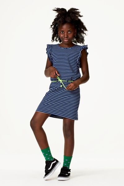 kinderjurk strepen donkerblauw donkerblauw - 1000023270 - HEMA