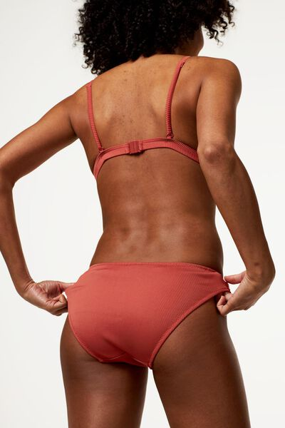 dames bikinibroekje - rib rood rood - 1000023605 - HEMA