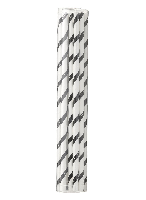 HEMA Papieren Rietjes - 20 Cm - Zwart/wit Gestreept - 20 Stuks (zwart/wit)