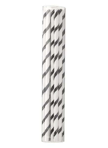 papieren rietjes - 20 cm - zwart/wit gestreept - 20 stuks - 14230042 - HEMA