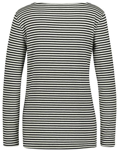 dames t-shirt boothals zwart/wit zwart/wit - 1000022624 - HEMA